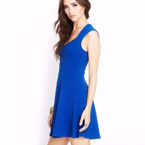 Forever 21 Royal Blue Fit & Flare Mini Dress